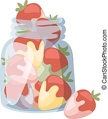 Beautiful red strawberry cream in white chocolate summer vector illustration.