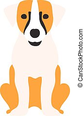 Flat dog pet and sitting cute vector - Flat dog pet and...