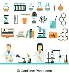 Laboratory symbols science and chemistry icons vector.