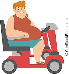 Concept fitness weight loss fat man and thin sports guy, fatman on a diet with transportation truck.