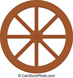 Old wooden vintage wheel from cart transportation vector...