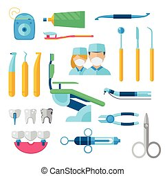 Flat dental instruments set dentist tools concept vector...