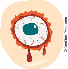 Cartoon doodle zombie eyes demon blood vector illustration -...
