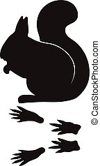 Black silhouette squirrel wild animal zoo vector.