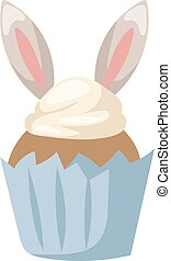 Traditional easter bunny cake white sweet icing, sprinkles,...