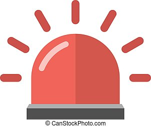 Police or ambulance red flasher siren alarm icon flat style vector.