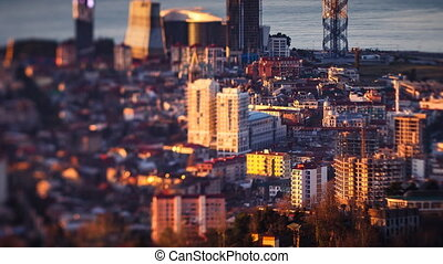 Sunset timelapse Batumi cityscape  pan up