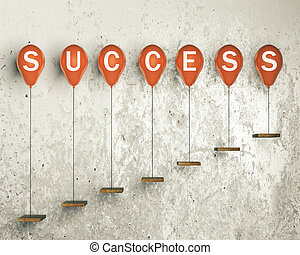 Success concept with red balloons tied to ledges on concrete...