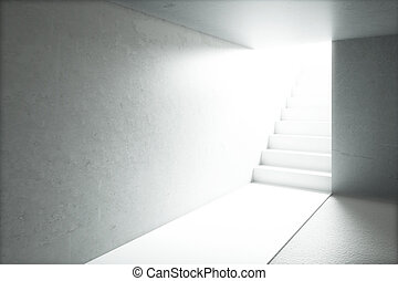 Sunlit room with stairs - Sunlit concrete room with blank...