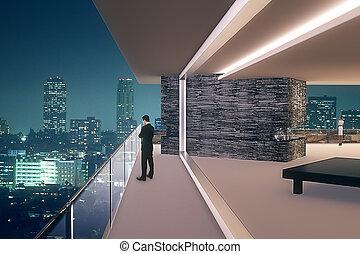 Office interior at night