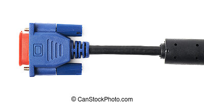 VGA male cable connector isolated over the white background