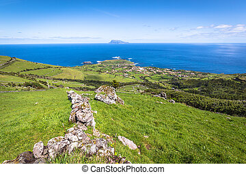 Landscape of the island of Flores Azores, Portugal