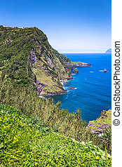 Landscape of the island of Flores. Azores, Portugal