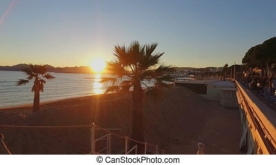 French Riviera at sunset - Cote dAzur at sunset in Cannes,...