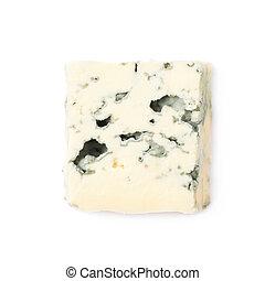 azul, queijo, único, fatia, isolado