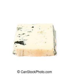 único, fatia, de, azul, queijo, isolado,