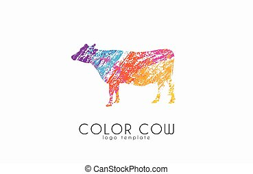 Cow logo. Color cow. Creative logo. Cow design. - Cow vector...