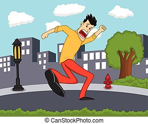 Male running scared with city background cartoon