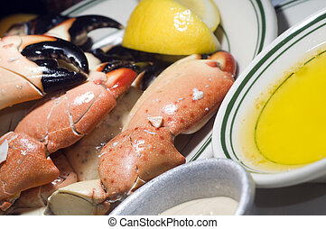 florida stone crab claws - plate of florida stone crab claws...