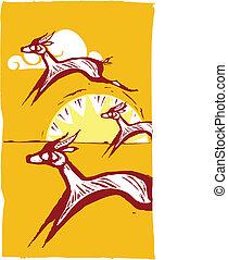Running Gazelles #1 - Gazelles running on an african plain.