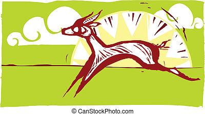 Running Gazelles #2 - Gazelles running on an african plain.