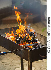 Fire, flames from wood ember for grill or bbq picnic, fume...