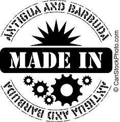 Made in Antigua and Barbuda - Stamp imprint Made in Antigua...