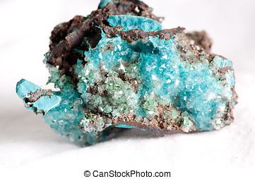 rosasite, e, calcite, mineral, amostra,