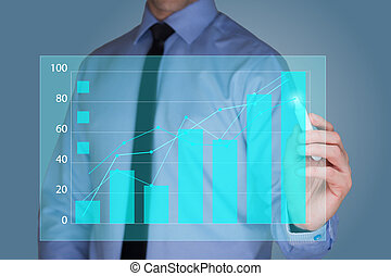 businessman drawing graph, business strategy as concept -...