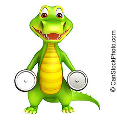 cute Aligator cartoon character with gim equipments - 3d...