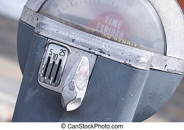 Parking Meter - A macro shot of an older style parking...
