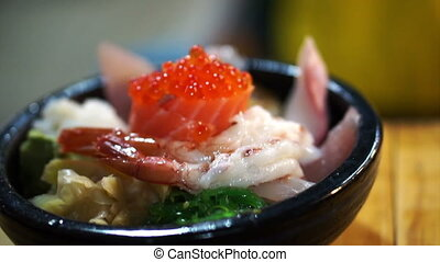 Japanese sashimi over rice Chirashi - Japanese gourmet...