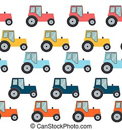 Ftat Tractor Seamless Pattern Background Vector Illustration...