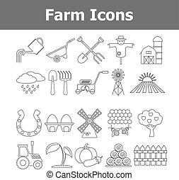 Outline vector farm icons.