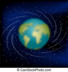 Earth in space. Black space. Star and planet Earth