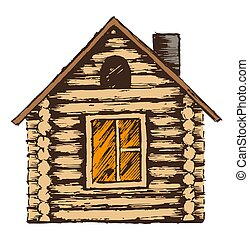 Illustration de maison bois dessin 3d illustration for Dessin de maison en bois