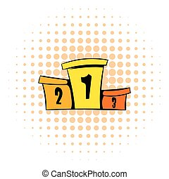 Podium winners icon, comics style
