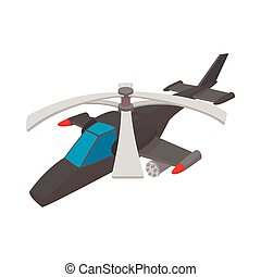 Military helicopter icon, cartoon style - Military...