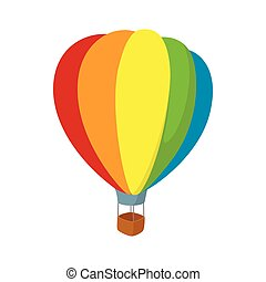 Colorful air balloon icon, cartoon style - Colorful air...