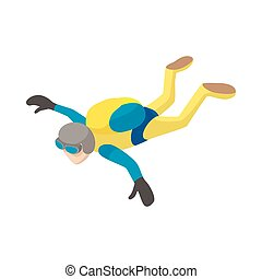 Skydiver in freefall icon, cartoon style - Skydiver in...