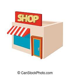 Shop building icon, cartoon style