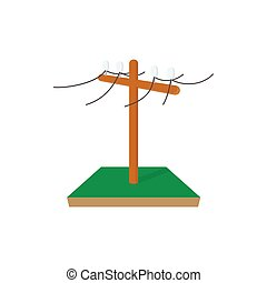 Power pole icon, cartoon style - Power pole icon in cartoon...