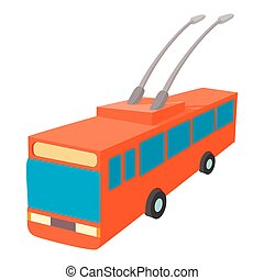 Red trolleybus icon, cartoon style - Red trolleybus icon in...