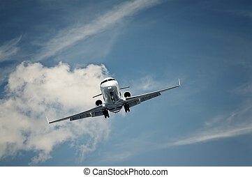 private jet landing - passenger private jet landing on a...
