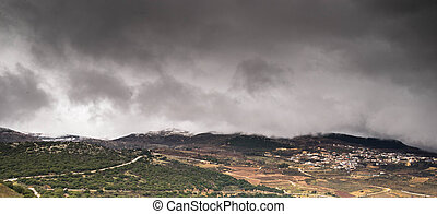 Storm on golan - Golan heights in Israel storm winter...