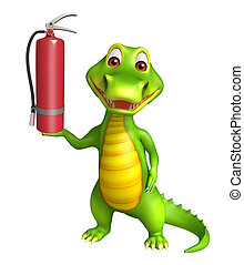 cute Aligator cartoon character with fire extingusher - 3d...