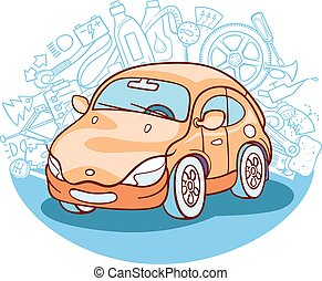 car vector illustration - car drawing with different...