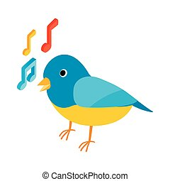 Blue singing bird icon, isometric 3d style