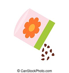 Small bag of flower seeds icon, isometric 3d style - Small...