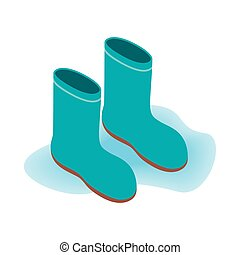 Blue rubber boots icon, isometric 3d style